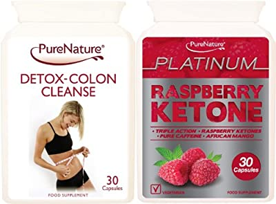 Triple Strength Raspberry Ketone Extreme Platinum Blend | High Performance Body Fat Fighter Slimming Pills providing 600mg Daily of Raspberry Ketones, 400mg Caffeine-Anhydrous & 200mg African Mango + Detox Colon Cleanse Suitable for Vegetarians + FREE 201