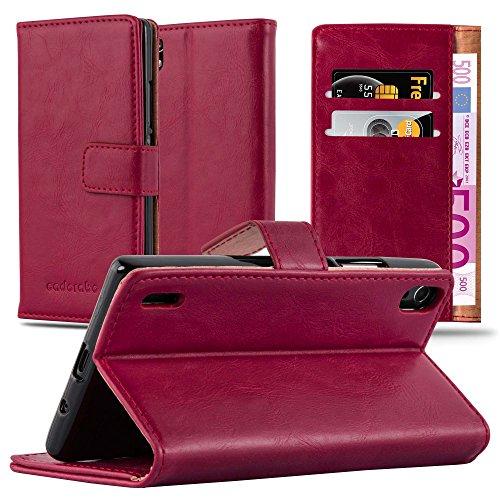 Cadorabo Hülle für Huawei P7 - Hülle in Wein ROT - Handyhülle im Luxury Design mit Kartenfach & Standfunktion - Case Cover Schutzhülle Etui Tasche Book