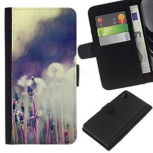 KingStore / Flip Leder Tasche Handy Schutz Hülle / Sony Xperia Z2 D6502 / Pflanze Natur Forrest Blumen-59