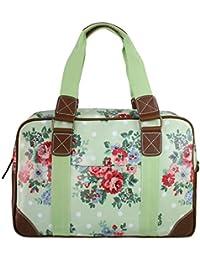 Miss Lulu Damen Größ Blumen Wachstuch Handtasche über Nacht Schultertasche Tasche Handbag Shoulder Bag