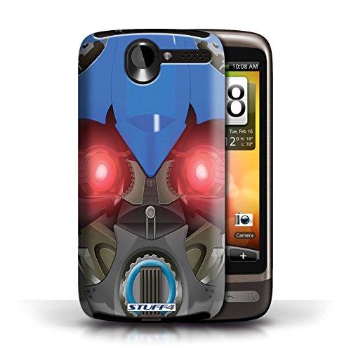Kobalt® Imprimé Etui / Coque pour HTC Desire G7 / Opta-Bot Rose conception / Série Robots Bumble-Bot Bleu