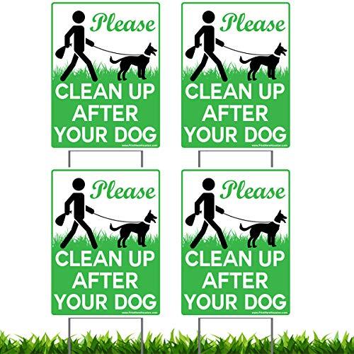 Vibe Tinte 4Stück 22,9x 30,5cm Bitte Reinigen, die Nach Ihren Hund-Keine Pooping Hund Rasen Schilder mit 4x Metall Draht, h-Stakes Inklusive Ständer -
