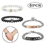 Milacolato King & Queen Crown Paar Armbänder für Sie und Ihn 8mm Armband Verstellbare Armbänder