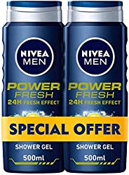 NIVEA, MEN, Shower Gel, Power Fresh, 2 x 500ml