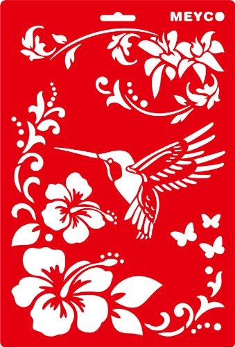 Schablone 20x31cm - Kolibri mit Blüte