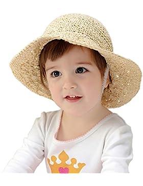Sombrero de Paja Panamá Bowknot Elegante Sombrero de Playa de Verano Niñas Niños Sombreros de protección solar...
