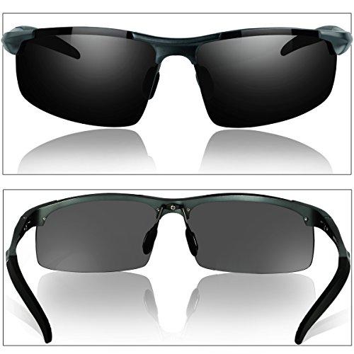 33fc9d44eee8bd Duco Lunettes de soleil homme Lunettes de sport polarisées - Lunettes de  conduite avec monture en métal Incassable - 100% anti UV400-8177S  (Gunmetal) ...