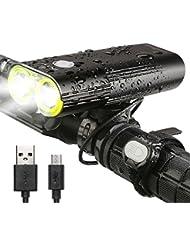 INTEY Multifonction LED Lumière pour Vélo Portable Batterie 5000mAh 1600LM /4500 Ah 1000LM Rechargeable Bicycle Headlight avec Bouton de Télécommande