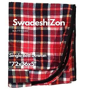 SwadeshiZon Cotton Mattress Protector / Cover Single Bed with Zip / Chain , (Multicolour, 72x36x5 inches / 3x6 Feet)