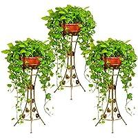 Malayas® 3-teilig Blumenständer Blumensäule Blumenrahmen aus Metall - Pflanzenständer Pflanzensäule für Balkon Wohnzimmer Restaurant Hotel Büro Indoor Outdoor Bronze