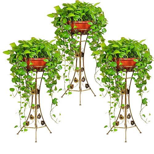 Malayas® 3-teilig Blumenständer Blumensäule Blumenrahmen aus Metall - Pflanzenständer Pflanzensäule für Balkon Wohnzimmer Restaurant Hotel Büro Indoor Outdoor Schwarz