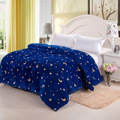 RUGAI-UE Bed Blankets Summer Fluffy Coral Air Conditioning Blanket Double Flannel Office Single Blanket,180X200Cm,Star Moon (Home-office-single)