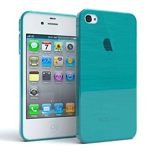 "EAZY CASE Handyhülle für Apple iPhone 4S, iPhone 4 Hülle - Premium Handy Schutzhülle Slimcover ""Clear"" - Transparentes Silikon Backcover in Klar / Durchsichtig Brushed Hellblau"