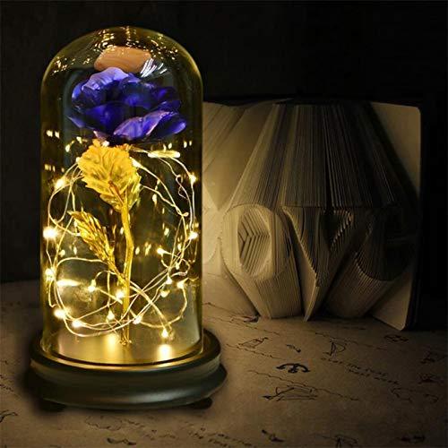 Mrinb Schönheit und das Biest Rose 24K Gold Plating Rose Blume in Einer Glaskuppel mit LED Lichterkette Geschenk Frauen Mädchen am Geburtstag Valentinstag Muttertag Weihnachtsferien