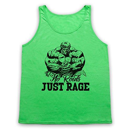 No Roids Just Rage Bodybuilding Culture Slogan Tank-Top Weste Neon Grun