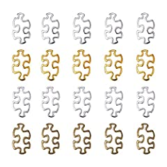 Idea Regalo - pandahall 60pcs 4 Colori Tibetano Puzzle Pendenti con ciondoli autismo consapevolezza Pezzo Puzzle Anello in Lega per la creazione di Gioielli
