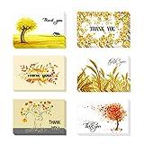 Roblue 24pcs Tarjeta de Agradecimiento Message Tarjeta Imprimé Thank You para día de la Madre Amarillo de Papel