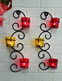 #9: Tied Ribbons T-Light Holder /Wall Sconce Holder Pack Of 2(Black, Metal)
