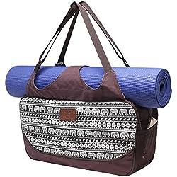 Bolsa de yoga «Vimalaa» de #DoYourYoga fabricada con lona (lienzo de algodón), con un laborioso acabado. ¡Para esterillas de yoga EXTRAGRANDES y SUPERANCHAS! elefantes