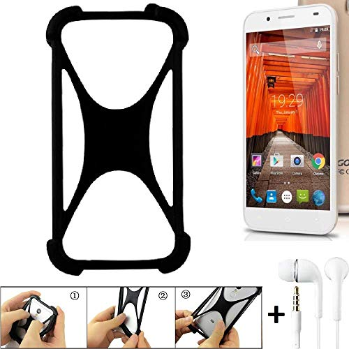 K-S-Trade Handyhülle für Swees Godon X589 Schutzhülle Bumper Silikon Schutz Hülle Cover Case Silikoncase Silikonbumper TPU Softcase Smartphone, schwarz (1x), Headphones