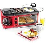 DZW Toast und Ei Zwei Scheiben Toaster und Ei Maker, Kaffee Ofen Omelette Frühstück Vollautomatisch 6 mal die Temperatur 1500 W - Rot Multifunktion