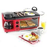 HETAO Kreativ Toast und Ei Zwei Scheiben Toaster und Ei Maker, Kaffee Ofen Omelette Frühstück Vollautomatisch 6 mal die Temperatur 1500 W - Rot Frühstück