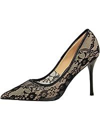 MONAcwe Stöckelschuhe Frau Sexy Spiky Naked Slip in Hohlmesh Kleid Kleid Schuhe Stiletto Heels 9.5cm, Weiß, 35
