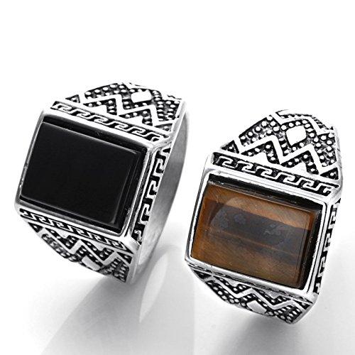 Gnzoe gioielli anello in acciaio inossidabile da uomo piazza pietra nero argento 17mm misura 25