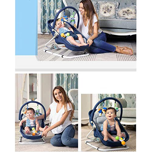 Portable Rocking Chair Iron Lazy Man Washable Folding Sleepy Lying Basket Appease Swing 3 Color 66cm*41cm MUMUJIN (Color : Blue)  MUMUJIN