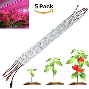 Derlight [Lot de 5] 0.5m 10W Grow Light bar avec 36pcs 5050SMD LED DC 12V Coque en aluminium pour l'intérieur Serre de jardin de floraison de plantes hydroponie Système, multicolore, Blue + Red