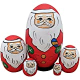 Cute Egg Shape Santa Claus With Green Gloves Handmade Wooden Russian Matryoshka Nesting Dolls Set Of 5 Pieces For Kids Toy Birthday Christmas Gift Home Holiday Decoration