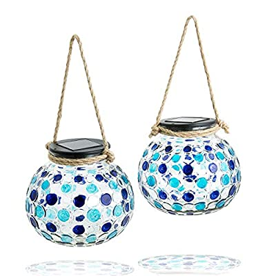 Gadgy ® Solar Table Lanterns Set | 2 Pieces | Glass Lamps with LED Light | Garden Balcony Deco with Mosaic Light Effect and Rope Handle from Gadgy