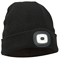 Thinsulate Warm Bright LED Lit Beanie Cap Unisex Hat with Rechargeable Front Facing Headlamp with 4 LEDs Shining with A 3 Metre Beam, Charges Via USB – Great for Cycling, Running, Camping, Car Repair