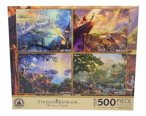 Disney Thomas Kinkade Set of 4 500 Piece Puzzles Puzzle Lion King Pinocchio Peter Pan Jungle Book by