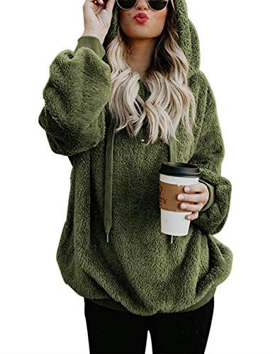 iWoo Pullover Damen Hoodie Winter Lose Warm Kapuzenpullover Teddy-Fleece Langarm Oversize Sweatshirt Mit Kapuze(Armee Grün,S)