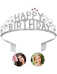 Frcolor Happy Birthday Tiara Geburtstag Tiara Kristall Strass Krone Tiara Hochzeit Haar Kamm Bridal Geburtstag Stirnband für Frauen