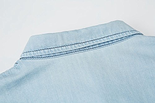 Blansdi Femme Robe Casual Jean Poche Revers Collier Blouse Manches Courte Denim Blouse Tunique Chemisier Chemise Bleu