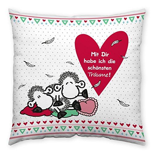 Sheepworld 43841 Baumwoll-Kissen mit Spruch Mit Dir habe ich die schönsten Träume, Geschenk-Kissen, 40 cm x 40 cm, mehrfarbig