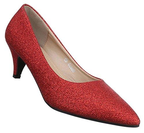 Damen Pumps Schuhe High Heels Stiletto Abendschuhe Schwarz gold rot silber 36 37 38 39 40 41 Rot
