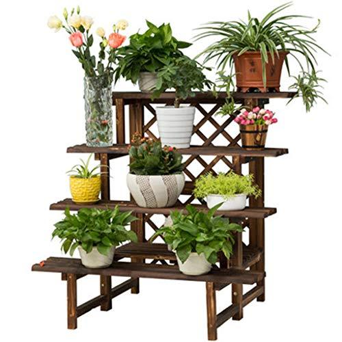 4 Tier-mesh (Blumenständer deko Großer Hochleistungs-Blumentopfständer mit Mesh - Garten Outdoor 4 Tier Holzpflanze Lagerung Dekor Displayständer, 90 × 80 × 90 cm)