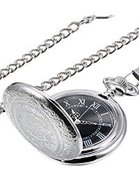 Hicarer Herren Analog Quarz Taschenuhr (Silber)