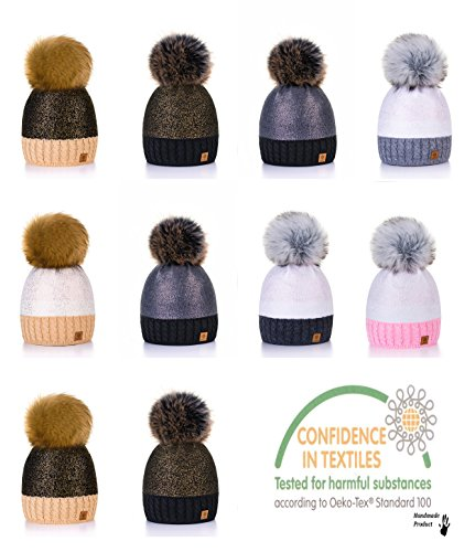 f5d75c58672 4sold Womens Ladies Winter Hat Knitted Beanie Large Pom Pom Cap Ski  Snowboard Hats Bobble Silver (Black Gold) - Buy Online in UAE.