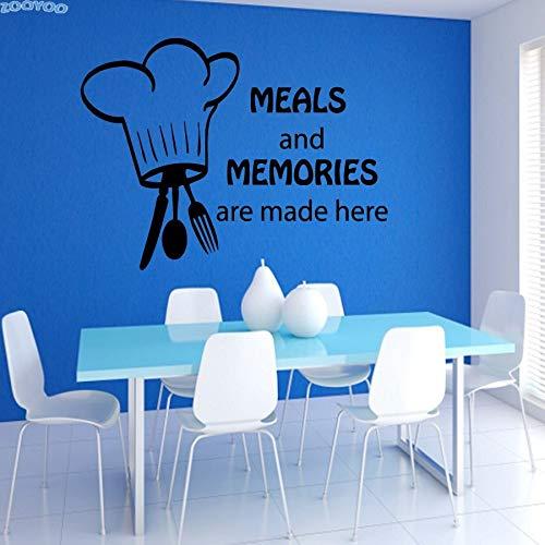 yiyiyaya Mahlzeiten Und Erinnerungen Werden Hier Besteck Und Kochmütze Küche Wandtattoos Vinyl Küche Fliesen Wandaufkleber 60 * 43 cm
