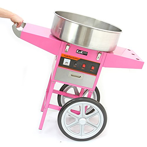 KuKoo Commercial Cotton Candy Floss Machine & Cart / 500 candy floss sticks / Retro Pink / 900w