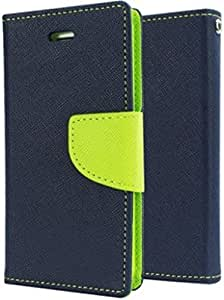 Om Synthetic Leather Mercury Flip Cover For Samsung Galaxy C9 Pro - Blue&Green
