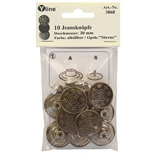 Yline 10 Jeans Knöpfe Altsilber 20 mm, Jeansknöpfe Metallknopf, Metall Knöpfe, nähfrei, im SB Pack, sl, 3068