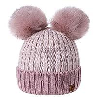 MFAZ Morefaz Ltd Girls Winter Beanie Hat Knitted Hats Kids Girl with Large Double Pom Pom Ski