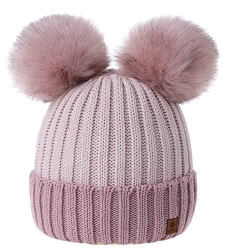 MFAZ Morefaz Ltd Mädchen Winter Beanie Mütze Kinder Groß Pom Pom Style Kids SKI Snowboard (Rose-Pink Powder)