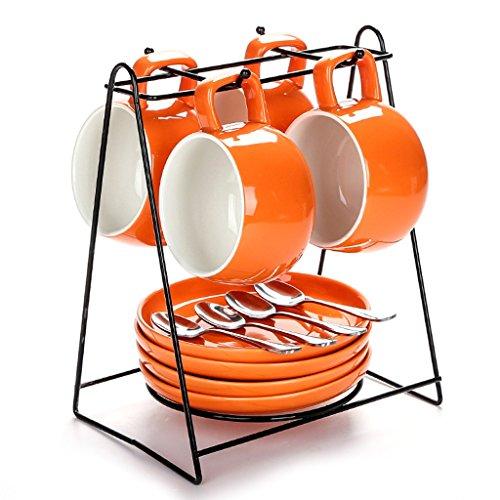 Untertasse Set Durable China Porzellan Tasse Teller Essgeschirr von 12 für Geburtstag, Nachmittagstee, Hochzeit und Party Feiern (Farbe : Orange) (Teller Und Tassen Für Hochzeit)