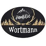 Eurofoto Türschild mit Namen Familie Wortmann und rustikalem Motiv mit Geweih | für den Innenbereich | Klingelschild mit